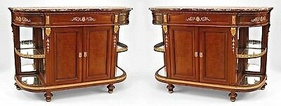 Pair of French Louis XVI Style (19th Cent) Mahogany and Bronze Trimmed Sideboard