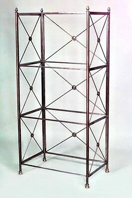 French Directoire Style (20th Cent) Steel Bookcase with 4 Glass Shelves