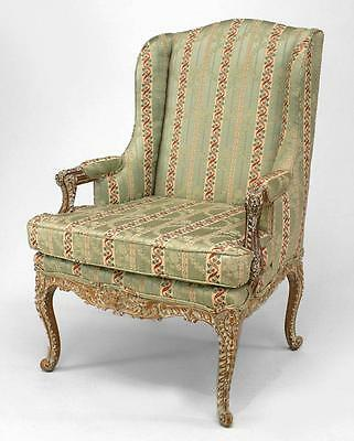 French Regency Style (19th Cent.) Bleached and Carved Open Arm Chair