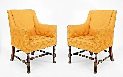 Pair of English Chinese Chippendale Style (19/20th Cent) Bergere Arm Chairs