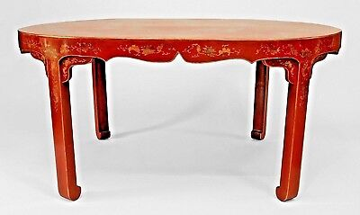 Asian Chinese (19th Cent) Oval Red Lacquer and Gilt Stenciled Center Table