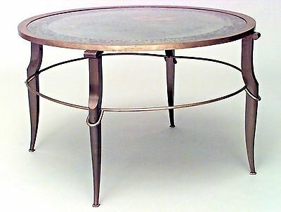 French 1940s Bronze and Brass Round Coffee Table with Decorated Mirror Top