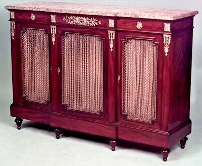 French Louis XVI Style (19th Cent) Mahogany & Bronze Trimmed Sideboard Cabinet