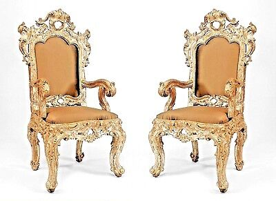 Pair of Antique Italian Rococo High Back Silver-Gilt Carved Throne Style Chair