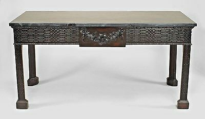 English Chinese Chippendale Style Mahogany Console Table with Green Marble Top