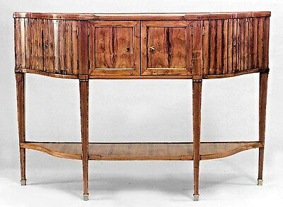 Pair of French Louis XVI style (18/19th Cent) fruitwood narrow sideboards with s