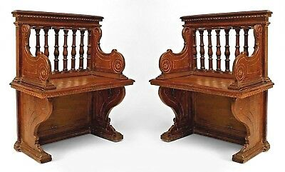 Pair of Italian Renaissance Style (19th Cent) Walnut Turned Column Back Benches