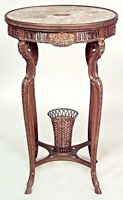 French Regency Style (19th Cent) Round Bronze Dore End Table with Basket Stretch