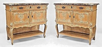 Pair of French Louis XV Style (19th Cent.) Bleached Carved Sideboard Cabinet