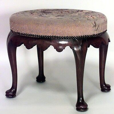 English Queen Anne Style (19th Cent) Oval Walnut Bench