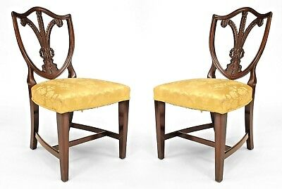 Pair of English Hepplewhite Style (19th Cent) Mahogany Side Chairs