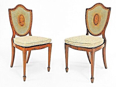 Pair of English Sheraton Style (19th Cent.) Satinwood Shield Back Side Chairs