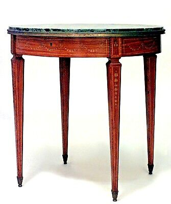 English Adam Style (19th Cent) Satinwood and Inlaid Round 4 Legged End Table