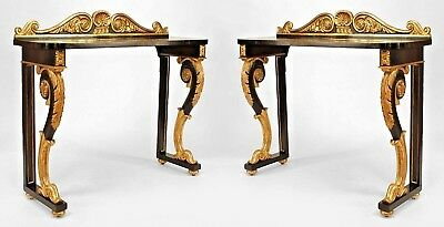 Pair of English Regency Style (19th Cent) Ebonized and Gilt Console Tables