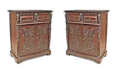 Pair of English Renaissance Style (19/20th Cent) Oak 2 Door Sideboard Cabinets