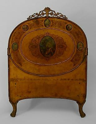 Italian Rococo style (19th Cent) tole and gold metal stenciled single size bed w