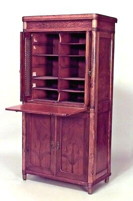 Austrian Bentwood (Secessionist) (19/20th Cent) small secretary with 2 grill doo