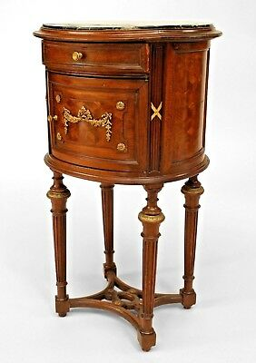 French Louis XVI Style (19th Cent.) Oval Mahogany Bedside Commode