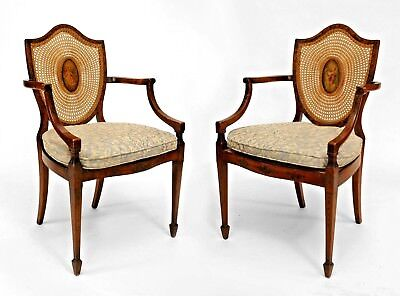 Pair of English Sheraton Style (19th Cent) Satinwood Shield Back Arm Chairs