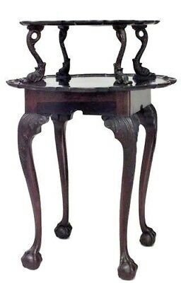 English Chippendale Style (19th Cent) Round Mahogany Scalloped 2 Tier Table