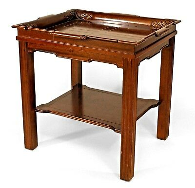 English Georgian style (20th Cent) mahogany rectangular end table with gallery t