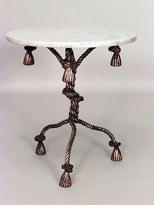 Rope and Tassel Design Gilt Metal Pedestal Base End Table with Round White Marbl