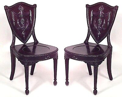 Pair of English Adam Style (19th Cent.) Mahogany Shield Back Side Chairs