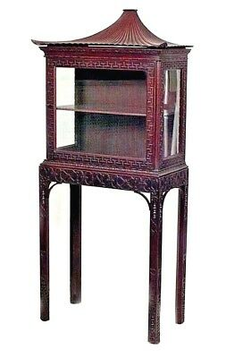 English Chinese Chippendale Style (19th Cent) Mahogany Curio Display Cabinet