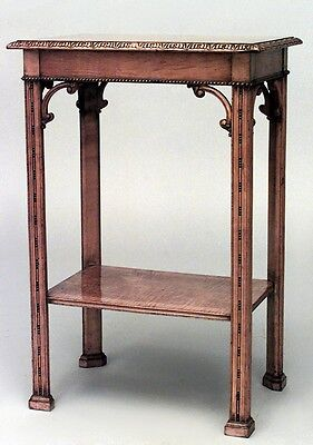 English Victorian Chinese Chippendale style satinwood rectangular end table with