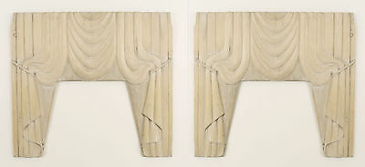 Pair of American Victorian stripped carved wood drapes