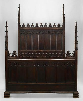 English Gothic Revival style (19th Cent) walnut full size bed with carved finial