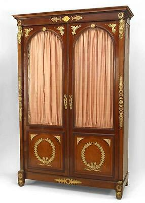 French Empire style (19th Cent) mahogany bookcase cabinet with bronze trim and 2