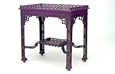 English Chinese Chippendale Style Mahogany Silver Table