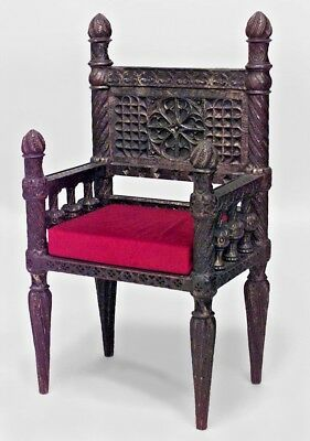 "English Victorian Gothic Revival Style Carved Burgundy ""Throne"" Arm Chair"