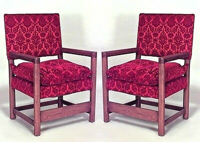 Pair of English Renaissance Style Oak Arm Chairs with Square Back & Seat