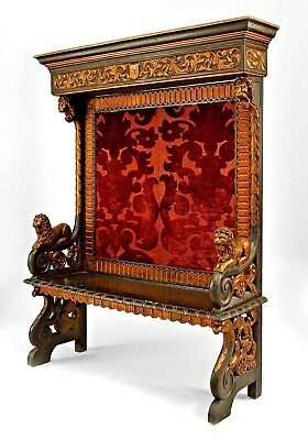 Italian Renaissance Style (19th Cent) Ebonized and Gilt Trimmed Hall Bench