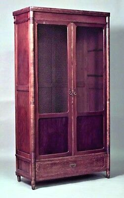 Austrian Bentwood Secessionist armoire cabinet with 2 grill doors above a single