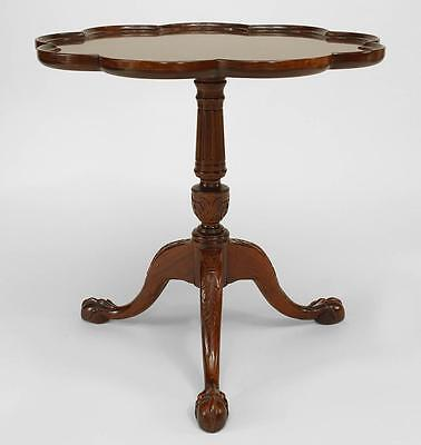 English Chippendale style (20th Cent) mahogany pedestal base table with scallope