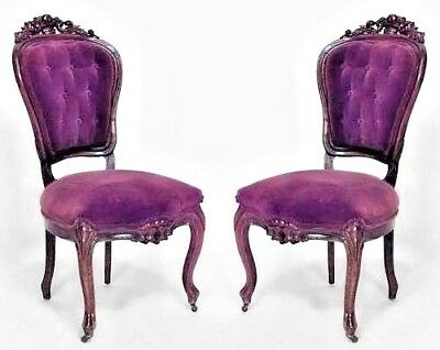 Pair of American Victorian Rosewood Side Chairs