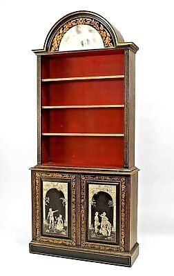 Pair of English Adam Style (19/20th Cent) Gilt Trimmed Neo-Classic Bookcases