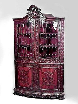 English Chinese Chippendale Style (19th Cent) Carved Mahogany Corner Cabinet