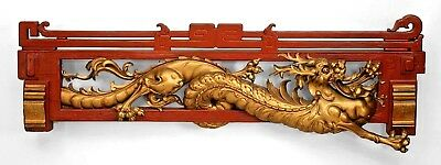 Asian Chinese red and gold lacquered cornice (valence) with dragon carving (19th
