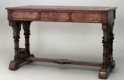 English Victorian Gothic Revival Style Pollard Oak Leather Top Table Desk