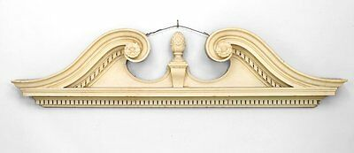 Pair of English Georgian style painted white cornices (valence) with broken pedi