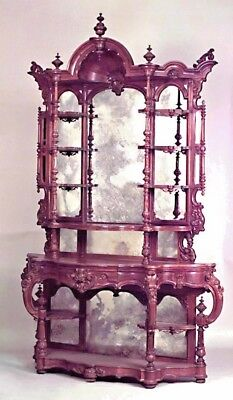 American Victorian Carved Rosewood Etagere with Mirror Backing and Side Shelves