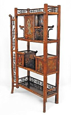 Bamboo and Rosewood Lacquered Panel Etagere with 3 Doors