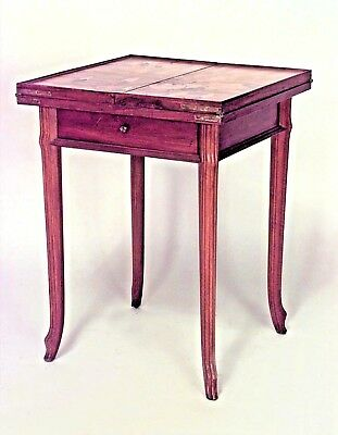 French Art Nouveau Walnut Folding Top Square Game Table with Drawer