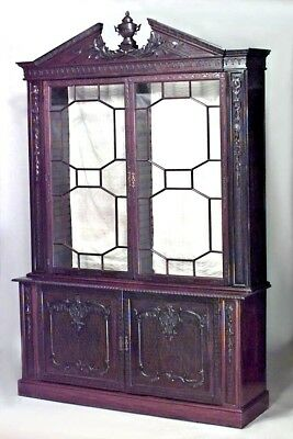 English Chinese Chippendale Style (19th Cent.) Mahogany Breakfront Cabinet