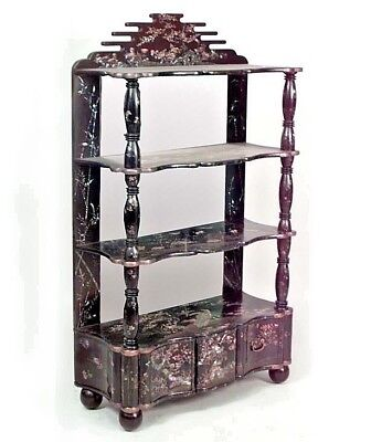 Asian Chinese Style (19th Cent) Lacquered Chinoiserie Design 4 Shelf Etagere