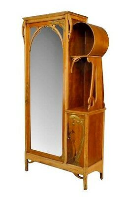 French Art Nouveau maple and inlaid armoire cabinet with brass trim and mirrored